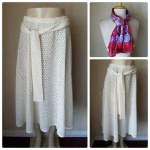 Dresses & Skirts - Vintage Cream Lace A-Line Skirt +Fabric Belt Scarf